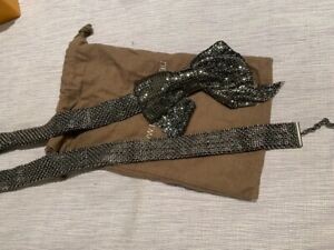 MIMCO dark grey chain link belt with bow