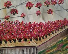 """New Listingoriginal oil painting flowers poinsettia Christmas painting 8""""x10"""" canvas signed"""