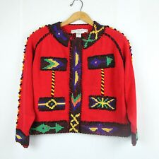 Vintage Michael Simon Red Beaded Cardigan Sweater 2 1991 Southwest Embroidered