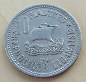 1961 Lebanon 10 piastres coin