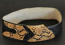 Vtg Womens Snakeskin & Leather Wide Hip Curved Belt w Designed Buckle S Africa