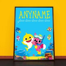 BABY SHARK Personalised Poster A4 Print Wall Art Banner Any Name Fast Delivery