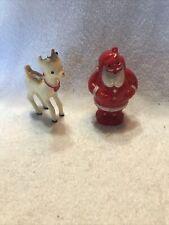Vintage All Hard Plastic Rudolph/Santa Christmas Ornaments Lot 2 Japan (F93)