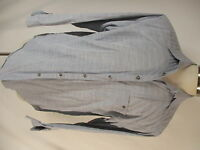 Zanella Mens Grey Long Sleeve Cotton Shirt XL Italy Made