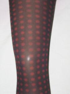 Black & Red Polka Dot Tights. 10-14 Spotty 60 denier dotty