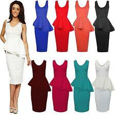 New Ladies Womens Side Slant Peplum Frill Dress Pencil Bodycon Midi Skirt 8-22