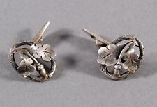 Antike Silberne Manschettenknöpfe 835er Silber mit Eichenlaub Trachtenschmuck