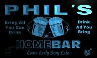 p467-b Phil's Home Bar Beer Family Name Neon LED Sign