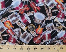 Musical Instruments Guitars Drums Violins Black Cotton Fabric Print BTY D776.39