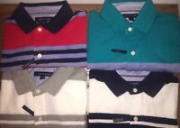 Tommy Hilfiger Men's Short Sleeve Striped Custom Fit Polo Shirt