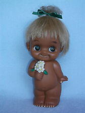 "Large 9"" Vinyl Golden Paradise Sekiguchi Big Eye Kewpie Doll Hair Flowers Japan"