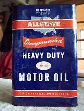 ALLSTATE 10 Quart empty tin oil can SEARS ROEBUCK & CO. (RARE BLUE CAN)