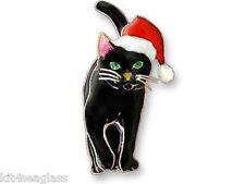 Zarah Holiday Cat PIN Sterling Silver Christmas Brooch Santa Hat - DISCONTINUED