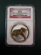 AUSTRALIA KOALA 2012 1 OZ GILT GILDED SILVER COIN - NGC MS 70 mintage 10,000 !!!
