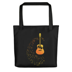 """Tote bag Eco Black Durable Electric Gold Guitar 15"""" x 15"""""""