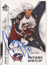 Adam Pineault Signed 2008-09 SP Authentic Card #215 Columbus Blue Jackets