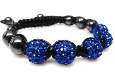 Blue Crystal Hematite 10mm Beaded Shamballa Disco Ball Bracelet #12