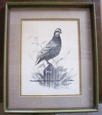 Neil Heimsoth Bobwhite Quail 1979 Framed Painting Realism Nature MAN CAVE OFFICE