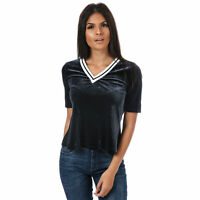 Womens Only Veronica Velour V-Neck T-Shirt In Night Sky