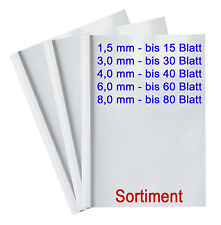 25 Thermobindemappen - SORTIMENT 1.5 - 8.0 mm, Thermomappen A4, transparent/weiß