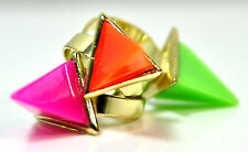 3 UNIQUE NEON BRIGHT COLURFUL PYRAMID PHAROAH EGYPTIAN STATEMENT RINGS (CL2)
