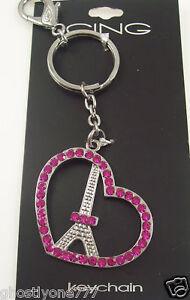 Pink bag bling Key chain keychain bag tag charm Eifel tower