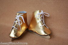 Doll Clothes fitting 18 in American Dolls Metallic Gold Ice Skates