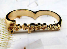 Gold tone word gorgeous double finger ring UK Size M O