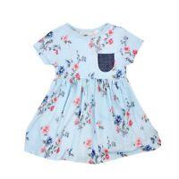 GIRLS EX STORE FLORAL DRESS SMART CASUAL BLUE DRESS BABY/CHILDREN/GIRLS