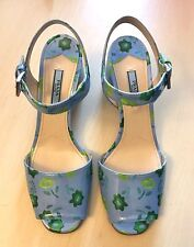 Store Display PRADA Patent Blue Floral Leather Heels Sandals Shoes 8 US 38 EU