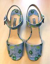 Store Display PRADA Patent Blue Floral Leather Heels Sandals Shoes 8 US 38 EU