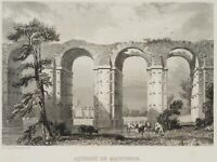 ROUARGUE, Blick auf das Aquädukt von Maintenon, Frankreich, 19. Jh., Stahlst.