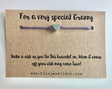 """Message Card Wish Bracelet Gift Xmas """"For A Very Special Granny"""" Silver Heart"""