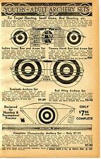 1939 Print Ad Tommy Hawk Indian Scout Seminole Archery Red Wing Bow & Arrow Set