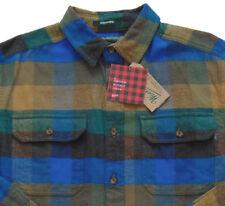 Men's WOOLRICH Brown Blue + Plaid Flannel Cotton Shirt Jacket XXL 2XL NWT NEW