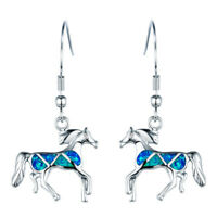 925 Silver Horse Shape Blue Fire Opal Drop Dangle Earrings Women Animal Jewelry
