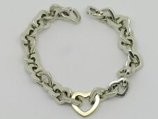 AUTHENTIC 2001 TIFFANY & CO. 18K GOLD & STERLING SILVER HEART LINK BRACELET