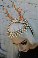 Fairy Cerbiatto con Perline Horned Fiore Corona Piuma Head Band