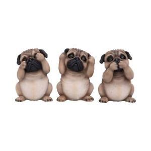 THREE WISE PUGS 8.5CM DOG FIGURINE CONFUCIUS SEE NO EVIL ANIMAL ORNAMENT