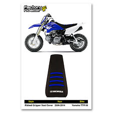 2006-2014 YAMAHA TTR 50 Black/Blue RIBBED SEAT COVER BY Enjoy MFG
