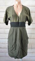 Saba Pencil Silk Dress Shift Size 8 Green Metallic Short Sleeve