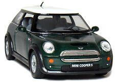 "Kinsmart 1:28 scale Mini Cooper S diecast car model w. pull back  5"" Long Green"