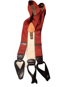 NEW TRAFALGAR FINE MEN'S SUSPENDERS RED  ELASTAN & BLACK LEATHER