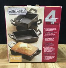 Castware 4 Rectangular Bakers - New - The Original Non-Stick Cookware Cast Iron