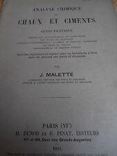 catalogue analyse chimique des chaux et ciments année 1911 ( ref 4 )