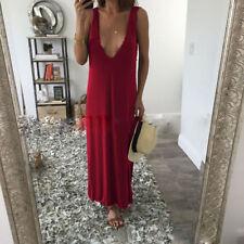 Women's Fshion sundress maxi long summer dress sleeveless uk large red v neck