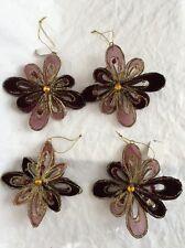 Lot Of 4 Purple Wire Sheer Velvet Flower Christmas Ornaments Gold Glitter