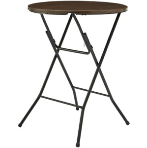 31 Inch Folding Table Round High Top Steel Frame Legs Outdoor Walnut Durable NEW