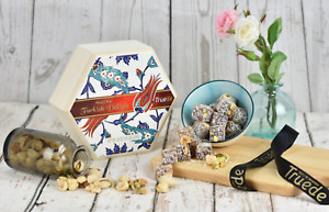 250g Wooden Box Turkish Delight Rose Lemon Mixed Nut Ottoman Xmas gift stocking