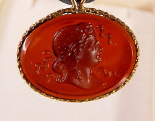 ANTIQUE GOLD FILLED LIBERTY CAMEO POCKET WATCH FOB CHARM #304B